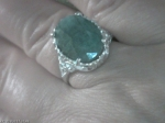 8.5 CARAT INDIAN GREEN EMERALD RING SZ 8.25 STERLING SILVER